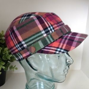 D&Y Cabby Hat Plaid Tartan Mauve Green Newsboy